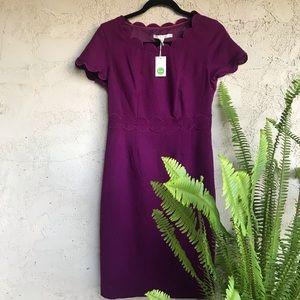 Boden purple scalloped hem wool dress